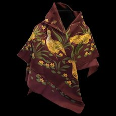 Yves Loranne Paris Scarf Burgundy Brown Birds Quail Polyester 30 IN