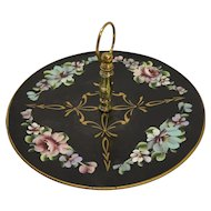 Tole Hand Painted Roses Metal Tidbit Sandwich Center Handle Lazy Susan Tray