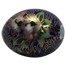 Cloisonne Egg Cobalt Blue Pink Flowers Gold Details
