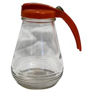 Federal Tool Corp Vintage Syrup Pitcher Dispenser Clear Glass Red Orange Plastic Lid