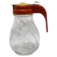 Pal Dispenser No Drip Syrup Clear Glass Red Cream Plastic Lid