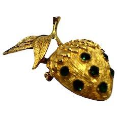 Acorn Gold Tone Pin Green Rhinestone