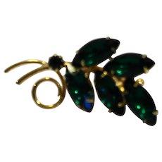 Emerald Green Rhinestone Leaf Fern Pin Brooch