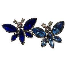 Blue Rhinestone Double Butterfly Pin
