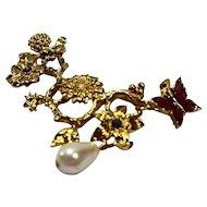Avon Flower Garden Pin Gold Tone Bee Pink Enamel Butterfly Pink Blue Rhinestone Faux Pearl Drop
