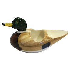 Ceramic Pottery Mallard Duck Dresser Valet Caddy Organizer
