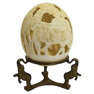 Ostrich Egg Hand Carved Reticulated Warthog Signed Brass Elephant Display Base