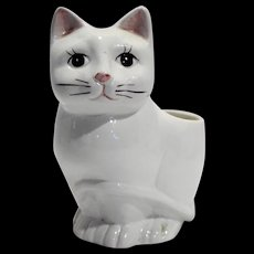 Relpo White Cat Planter Hand Painted Features