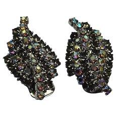 Kramer Gray Aurora Borealis Rhinestone Twist Clip Earrings