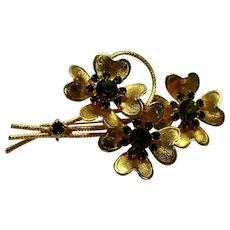 Emerald Green Rhinestone Gold Tone Flower Bouquet Pin