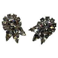 Rhinestone Earrings Clear Sparklers Crown Clips