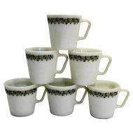 Pyrex Spring Blossom Crazy Daisy Green Flowers White Mugs Set of 7