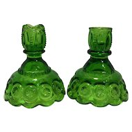 Moon And Stars Dark Green Candle Sticks Pair LE Smith