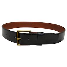 Black Leather Wide Belt Brass Buckle Genuine Top Grain Cowhide 33-37 IN