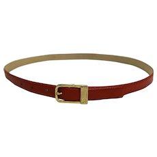Liz Claiborne Red Leather Narrow Ladies Belt Brass Buckle Size L