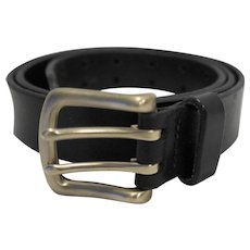Black Leather Belt Double Tongue Nickel Silver Tone Buckle 35-41 IN