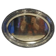 Silverplate Oval Platter Embossed Shells Urns Scrolls Rim 17 IN