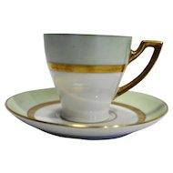 PT Bavaria Tirschenreuth Clyde Germany Green Gold White Demitasse Espresso Cup Saucer Porcelain