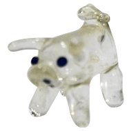 Clear Blown Glass Pig Figuring Small Blue Eyes