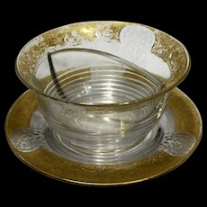Cambridge Elegant Gold Encrusted Etched Tally Ho Blank Divided Twin Bowl Salad Set