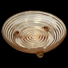 Pink Manhattan 3 Footed Candy Dish Anchor Hocking Depression Glass