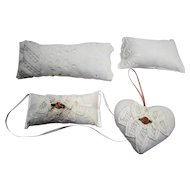 Handmade Lace Doll Pillows And Ribbon Lace Sachets Set 4 PC