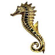 Sea Horse Gold Tone Blue Green Enamel Pin