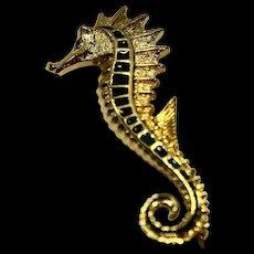 Sea Horse Gold Tone Blue Green Enamel Pin