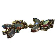 Aurora Borealis Rhinestone Earrings Clips Gold Tone