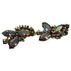 Aurora Borealis Rhinestone Earrings Clips Gold Tone