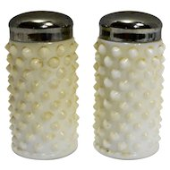 Fenton Hobnail Milk Glass Salt Pepper Shakers 3806