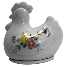 Chicken Hen On Nest Porcelain Flowers Trinket Box Pin Dish Made in Japan