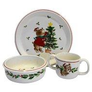 Mikasa Trim The Tree Child Dish Set Plate Bowl Mug Christmas