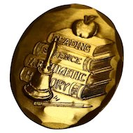 Wendell Forge Teacher Bronze Pin Pendant Books Apple Bell