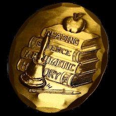 Wendell Forge Teacher Bronze Pin Pendant Books Apple Bell