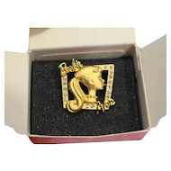 Avon Loves Barbie Pin Gold Tone Rhinestones With Box