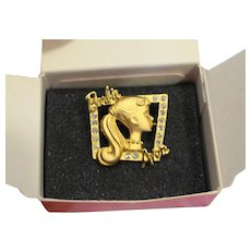 Avon Loves Barbie Pin Gold Tone Rhinestones With Box