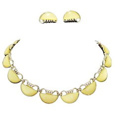 Coro Lemon Yellow Thermoset Lucite Necklace Earrings Set Semi Circles
