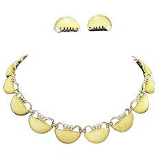 Coro Lemon Yellow Thermoset Lucite Necklace Earrings Set Semi Circles
