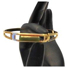 Avon Treasured Jade Gold Tone Bangle Bracelet 1978