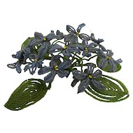 French Glass Beadwork Purple Flowers Green Leaves Bouquet