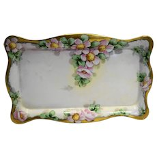 Antique Limoges Hand Painted Floral Porcelain Dresser Tray