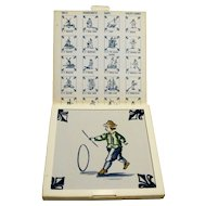 KLM Delft Tile Coaster Childrens Series Hoop Rolling Amsterdam Holland Dutch