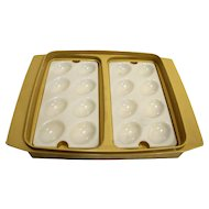 Tupperware 723-1 Deviled Egg Carrier Dish Harvest Gold Sheer White