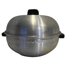 West Bend Spun Aluminum Bun Warmer Serving Oven Black Handles 1950s