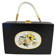 Black Wooden Cigar Box Purse Handbag Armoire North Canton Ohio Vintage 1960s