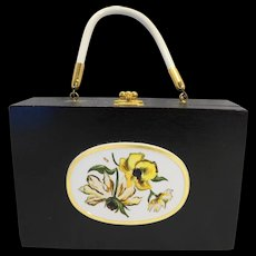 Black Wooden Cigar Box Purse Handbag Armoire North Canton Ohio Vintage 1960s