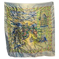 Serenata en Tasco Mexico Souvenir Scarf Polyester Satin Blue 27 IN Square