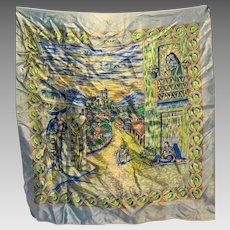 Serenata en Tasco Mexico Souvenir Scarf Polyester Satin Blue 27 IN Square