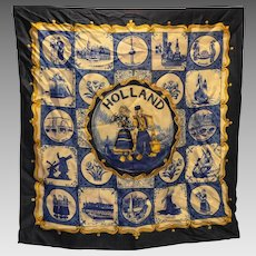 Holland Delft Blue Souvenir Scarf 21 IN Square Vintage